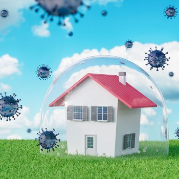Pandemic virus quarantine period,concept of house in quarantine
